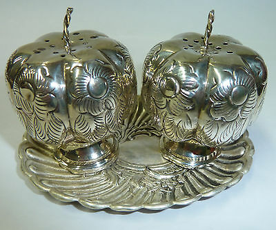Vintage Miniature Stirling & Mexican Silver Condiment Set With Victorian Tray