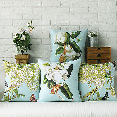 Home Decorative French Provincial Orchid & Hydrangeas Printed Cushion Cover