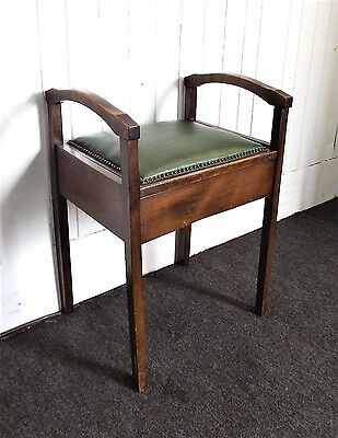 Antique vintage storage box piano stool / dressing table stool