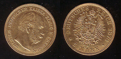 5 Mark Gold Preussen 1878 A !
