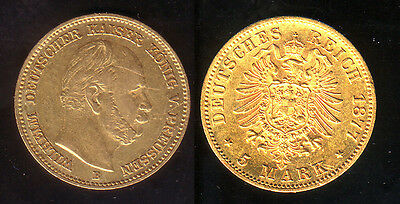 5 Mark Gold Preussen 1877 B !