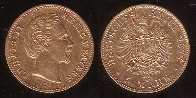 5 Mark Gold Bayern 1877 D !