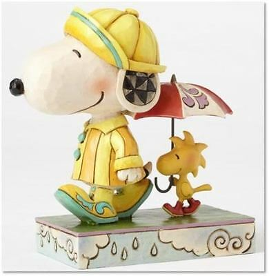 Jim Shore Peanuts Snoopy with Woodstock FRIENDS THROUGH RAIN OR SHINE 4055654