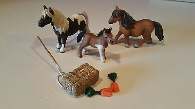 Schleich Lot Shetland Pony Stallion, Mare, Foal, and Food - Set #9