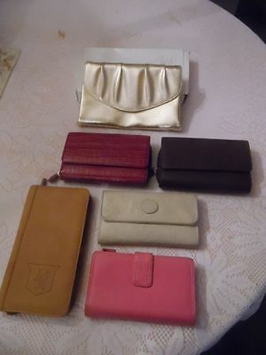 Lot of ladies wallets, passport case, and Avon evening bag. SIX NICE ITEMS