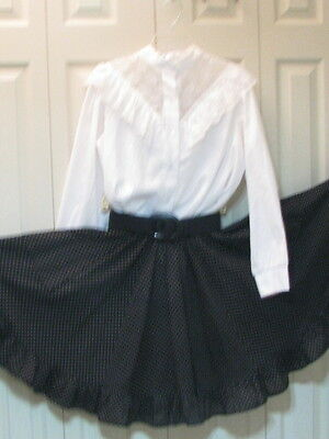 2446 White Lacey Blouse with Black Dotted Skirt & Belt, M