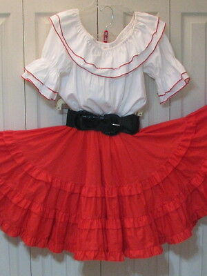 """2513 White Blouse with Red Skirt & Belt, Bust 44""""/S"""