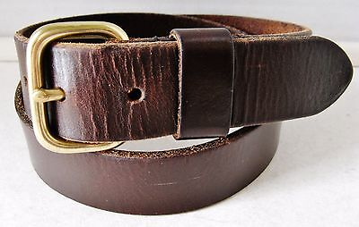 Banana Republic Brown Leather Belt w/ Brass Buckle Made in England (Size 30)