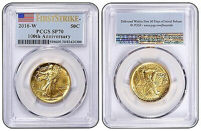 2016-W Walking Gold Half Dollar FIRST LABEL PCGS SP70 - 1/2 OZ GOLD