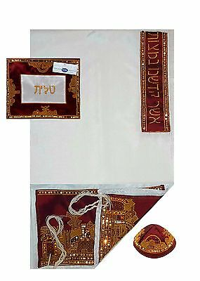 Jerusalem Embroidered Tallit Prayer Shawl Kosher Maroon Tallis With Bag & Kippah