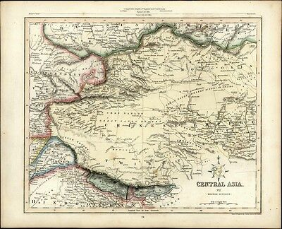 Central Asia China Tartary India Tibet Nepal old 1848 antique Gilbert Archer map