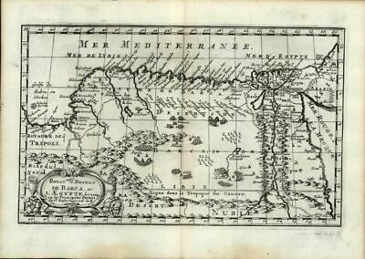 Barbary Northern Africa along Mediterranean Egypt Nile River 1669 Sanson old map
