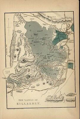 Lakes Killarney Ireland 1850 detailed engraved ominigraph map hand color
