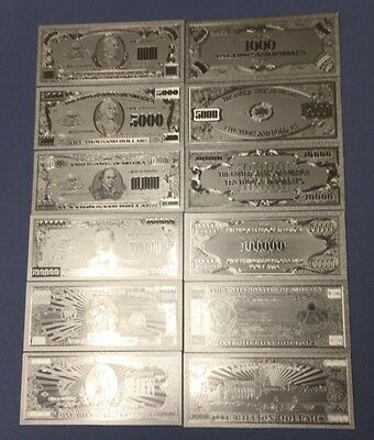 Beautiful Lot of 7 Pieces .999 Silver US Banknotes $500 Through Billion