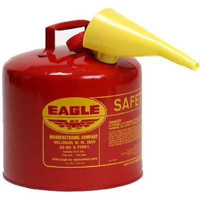 5 Gallon Steel Gas Can Galvanized Type I Red Safety Fuel Can Gasoline Storage