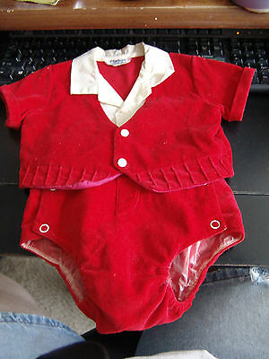 Vintage Coombs Creation Red Velvet 2 pc Baby Boy Christmas Outfit size M
