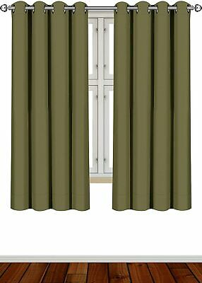Curtains Blackout Room Darkening Grommet Window Panel Drapes 2 Panel Set 52x63""