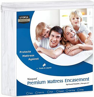 Premium Mattress Zippered Encasement Bug Proof Waterproof Cover Utopia Bedding