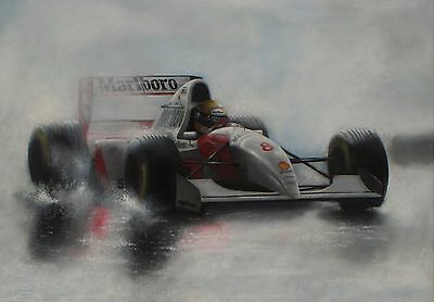 Ayrton Senna LARGE 30x20 Inch McLaren Framed Picture F1 Canvas Formula One