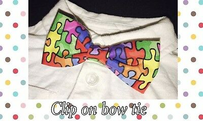 Handmade Baby toddler Boys Clip On Bow Tie Multi Color Puzzle Autism Adorable