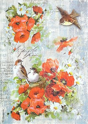 Rice Paper -Poppy and Birds- for Decoupage, Scrapbook Sheet Craft