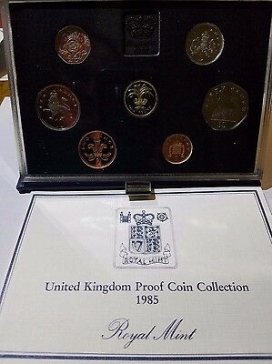 1985 United Kingdom Royal Mint 7 Coin Proof Set UK Great Britain Free Ship!