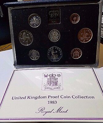 1983 United Kingdom Royal Mint 8 Coin Proof Set UK Great Britain Free Ship!