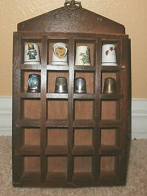 Wood Wall Hanging 20 Thimble Holder With 8 Thimbles Included