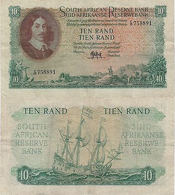 South Africa 10 Rand Banknote (1961) Very Fine Condition Cat#106-A-8891