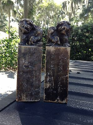 2 Large antique Asian Chinese stamp seal chop mark foo dog carved  Stone