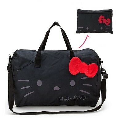Sanrio Hello Kitty Travel Bag Folding Boston Bag Black Shoulder Strap Tote Japan