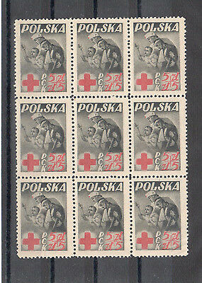 Poland, 1947 Red Cross issue bl of 9 MNH, **