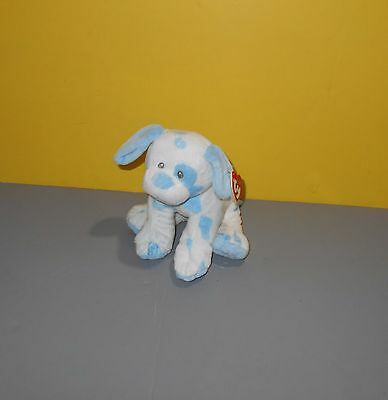 Ty Pluffies Baby Pups Blue White Spots Puppy Dog Lovey Plush Stuffed Animal