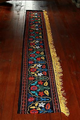 Suzani wall hanging, black velvet background, embroidery floral 154 inches long