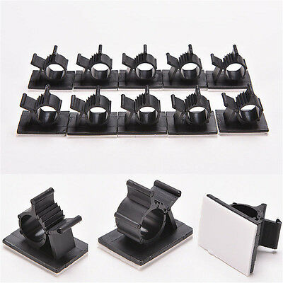 10x Cable Clips Adhesive Cord Management Black Wire Holder Organizer Clamp HOT