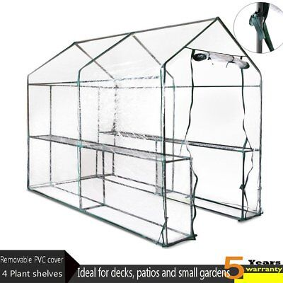 Durable Garden Greenhouse Walk-In Green Hot House Shed Plant PVC Cover Apex Roof