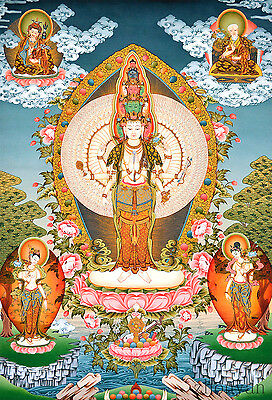 "26"" Blessed Natural Mineral Color Tibetan Thangka: Thousand Arms Avalokitesvara"