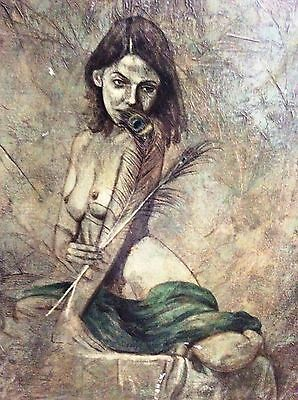 EITAN FRIED (1953-), Oil on Canvas, Nude With Peacock Feather, Signed