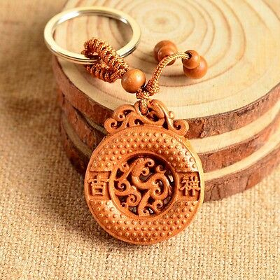 Wood Carved Chinese Feng Shui Geomancy Pixiu Moneybag Statue Key Chain Ring