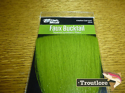 Olive Faux Bucktail Fiber Fish Skull Flymen Fishing Co - New Fly Tying Materials
