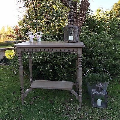 Antique Vintage Edwardian Grey Hand Painted Side Table Hall Table Console Table