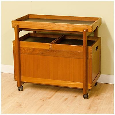 Retro Vintage Teak Drinks Trolley with Drinks Tray and Castors