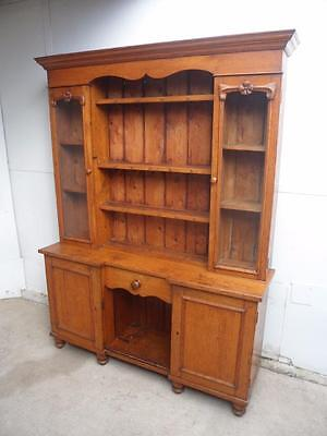 A Fantastic Late Victorian Light Oak 2 Piece Victorian Kitchen Dresser