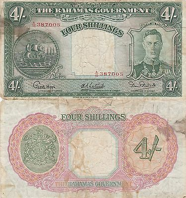 Bahamas 4 Shillings Banknote, 1936 Very Good Condition Cat#9-E-7005