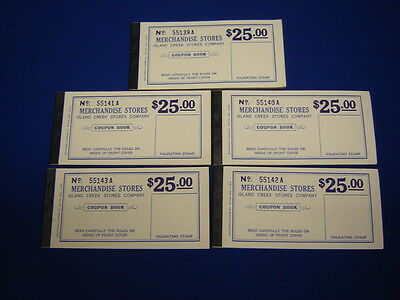 lot of 5 $25.00 Island Creek Company Store coal mine scrip coupons uncirculated