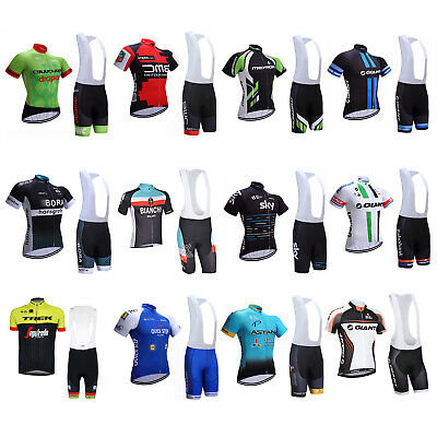 2017 Sports Team Cycling Bike Clothing Short Sleeve Jersey Bib Shirt Padded Kits