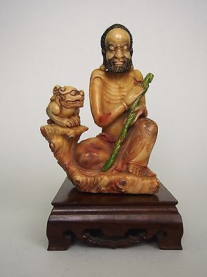 A Fabulous Chinese Soapstone Carving Figure of Seated Lohan