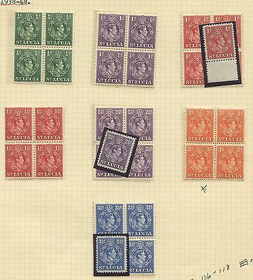 St Lucia 1938 KGVI  issue blocks of 4 Sc #110-113, 116-118 MNH