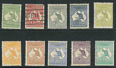 Australia 1913 Roo's First Issue Wmk 8 complete Sc #1-10 mint and used
