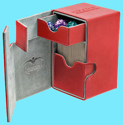 ULTIMATE GUARD FLIP n TRAY RED 80+ XENOSKIN DECK CASE Card Box Standard Size